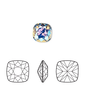 embellishment, swarovski crystal rhinestone, crystal passions, light sapphire shimmer, foil back, 10mm faceted cushion fancy stone (4470). sold per pkg of 6.