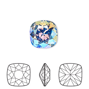 embellishment, swarovski crystal rhinestone, crystal passions, light sapphire shimmer, foil back, 12mm faceted cushion fancy stone (4470). sold per pkg of 6.