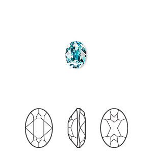 embellishment, swarovski crystal rhinestone, crystal passions, light turquoise, foil back, 8x6mm faceted oval fancy stone (4120). sold per pkg of 2.