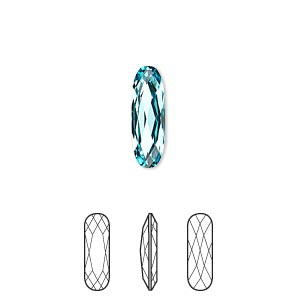 embellishment, swarovski crystal rhinestone, crystal passions, light turquoise, foil back, 15x5mm faceted long classical oval fancy stone (4161). sold per pkg of 6.