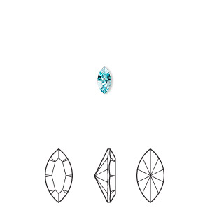 embellishment, swarovski crystal rhinestone, crystal passions, light turquoise, foil back, 6x3mm xilion navette fancy stone (4228). sold per pkg of 48.
