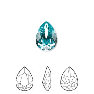 embellishment, swarovski crystal rhinestone, crystal passions, light turquoise, foil back, 14x10mm faceted pear fancy stone (4320). sold individually.