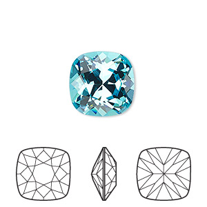 embellishment, swarovski crystal rhinestone, crystal passions, light turquoise, foil back, 12x12mm faceted cushion fancy stone (4470). sold individually.