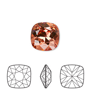 embellishment, swarovski crystal rhinestone, crystal passions, padparadscha, foil back, 12x12mm faceted cushion fancy stone (4470). sold individually.