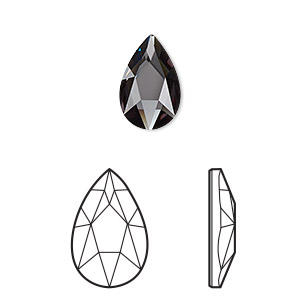 embellishment, swarovski crystal rhinestone, graphite, foil back, 14x9mm faceted pear flat back fancy stone (2303). sold per pkg of 72.