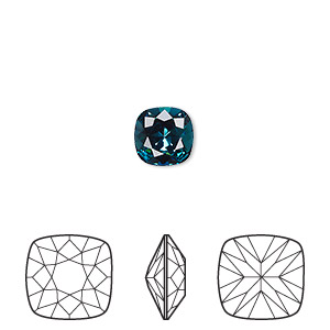 embellishment, swarovski crystal rhinestone, indicolite, foil back, 8mm faceted cushion fancy stone (4470). sold per pkg of 72.
