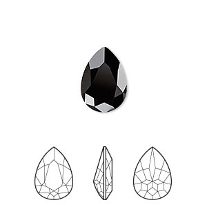 embellishment, swarovski crystal rhinestone, jet, 14x10mm faceted pear fancy stone (4320). sold per pkg of 144 (1 gross).