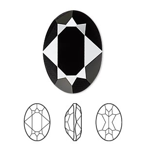 embellishment, swarovski crystal rhinestone, jet, 25x18mm faceted oval fancy stone (4120). sold per pkg of 24.