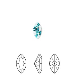 embellishment, swarovski crystal rhinestone, light turquoise, foil back, 10x5mm xilion navette fancy stone (4228). sold per pkg of 360.