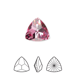 f299b5c057d Embellishment, Swarovski® crystal rhinestone, rose, foil back, 14.3x14x14mm  faceted triangle kaleidoscope fancy stone (4799). Sold per pkg of 24.