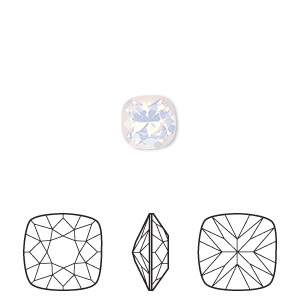 embellishment, swarovski crystal rhinestone, rose water opal, foil back, 8mm faceted cushion fancy stone (4470). sold per pkg of 72.