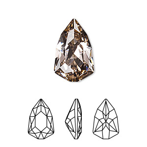 embellishment, swarovski crystal rhinestone, vintage rose, foil back, 18.7x11.8mm faceted trilliant fancy stone (4707). sold per pkg of 48.