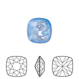 embellishment, swarovski crystal rhinestone with third-party coating, ultra blue ab, 12x12mm faceted cushion fancy stone (4470). sold per pkg of 72.