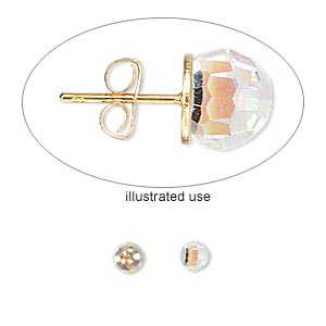 embellishment, swarovski crystals, crystal ab, foil back, 4mm faceted ball fancy stone (4869). sold per pkg of 2.