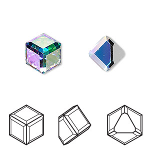 embellishment, swarovski crystals, crystal ab, mirror back, 8x8mm faceted cube flat back fancy stone (4841). sold per pkg of 2.