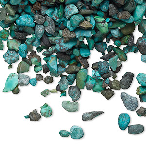 embellishment, turquoise (dyed / stabilized), mini undrilled chip, mohs hardness 5 to 6. sold per 50-gram pkg, approximately 550-700 pieces.