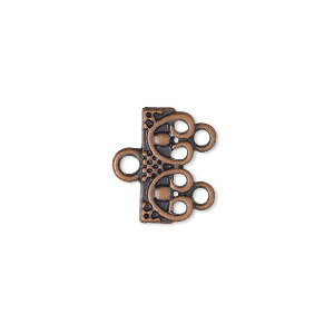 end bar, antique copper-finished pewter (zinc-based alloy), 16x7mm 2-strand single-sided rectangle with beaded design. sold per pkg of 12.