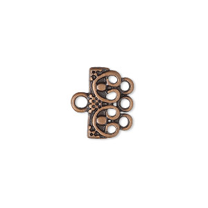 end bar, antique copper-finished pewter (zinc-based alloy), 16x7mm 3-strand single-sided rectangle with beaded design. sold per pkg of 12.