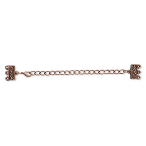 end bar, antique copper-finished pewter (zinc-based alloy), 32x13mm with 13x6mm 3-strand rectangle and 3-inch extender chain with lobster claw clasp. sold per pkg of 6.