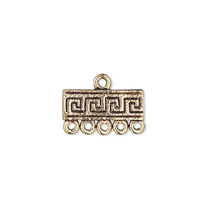 end bar, antique gold-finished pewter (zinc-based alloy), 17x6mm single-sided rectangle with greek key design and 5 loops. sold per pkg of 10.
