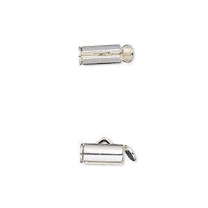 end bar, imitation rhodium-plated brass, 10x4mm round tube with fold-in ends, 2.75-3mm inside diameter. sold per pkg of 10.