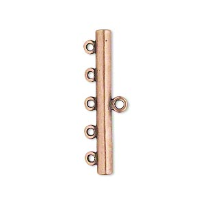 end bar, jbb findings, antique copper-plated brass, 30.5x3.5mm single-sided bar with 5 bottom loops. sold per pkg of 2.