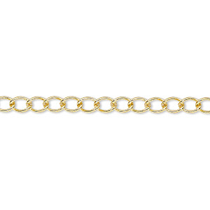 extender chain, gold-plated brass, 3.5mm curb, 3 inches. sold per pkg of 5.
