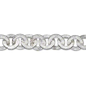 extender chain, hill tribes, fine silver, 8.5mm engraved round link, 2 inches. sold individually.