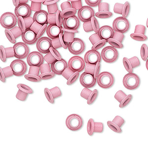 eyelet, acrylic and brass, pink, 5x4mm with 3x3mm tube and 2.2mm inside diameter, fits 3.5-5mm hole. sold per pkg of 50.