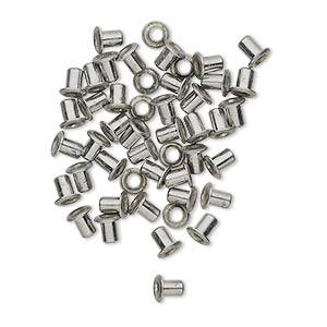 eyelet, nickel-plated brass, 3.5mm with 3x2.4mm tube and 1.7mm inside diameter, fits 2.5-3.5mm hole. sold per pkg of 50.
