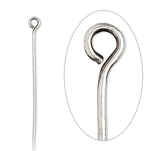 eyepin, antique silver-plated brass, 1-1/2 inches, 21 gauge. sold per pkg of 100.