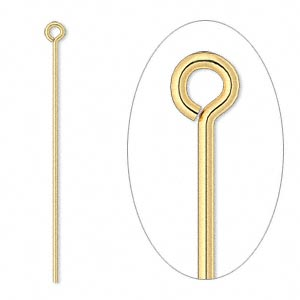 eyepin, gold-plated brass, 1-1/2 inches, 21 gauge. sold per pkg of 1,000.
