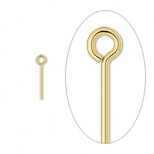 eyepin, gold-plated brass, 1/2 inches, 21 gauge. sold per pkg of 100.