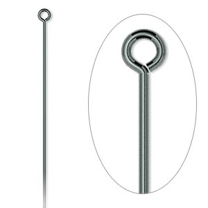 eyepin, gunmetal-plated brass, 2 inch, 21 gauge. sold per pkg of 100.