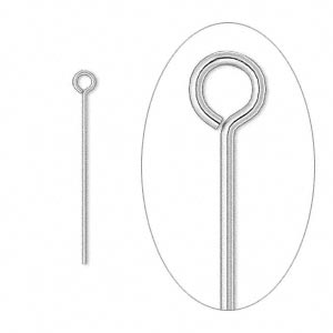 eyepin, silver-plated brass, 1 inch, 24 gauge. sold per pkg of 100.