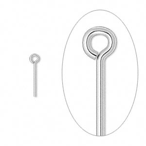 eyepin, silver-plated brass, 1/2 inches, 21 gauge. sold per pkg of 100.