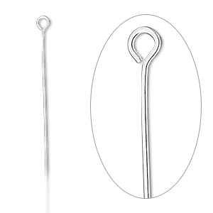 eyepin, sterling silver-filled, 2-1/8 inches, 22 gauge. sold per pkg of 100.