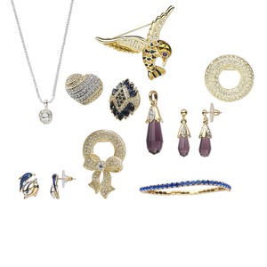 fashion jewelry mix, glass rhinestone and enamel with imitation rhodium- / gold- / silver-finished steel / brass / pewter (tin-based alloy), mixed color, mixed size and shape. sold per pkg of 5 pieces.