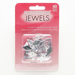 flat back, acrylic, clear, 15x8mm-15x9mm faceted diamond. sold per pkg of 40.