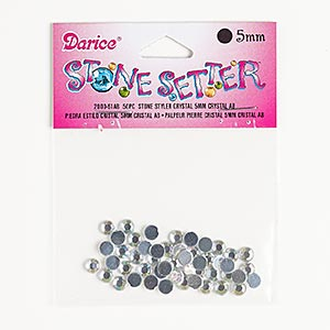 flat back, acrylic, clear ab, foil back, 4.9-5.1mm faceted round, ss22. sold per pkg of 50.