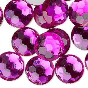 flat back, acrylic, transparent magenta, 16mm faceted round. sold per pkg of 24.