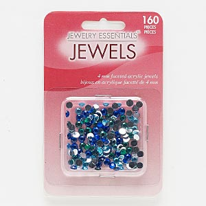 flat back mix, acrylic, mixed colors, 4-4.2mm faceted round, ss17. sold per pkg of 160.