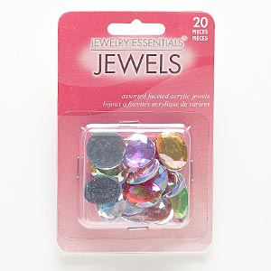 flat back mix, acrylic, mixed colors ab, 16x13mm-18mm faceted round and faceted oval. sold per pkg of 20.