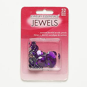 flat back mix, acrylic, purple, 4mm-25x18mm faceted round and faceted oval. sold per pkg of 52.