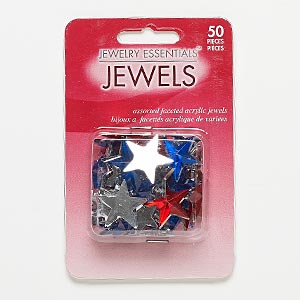 flat back mix, acrylic, red / blue / clear, 15x14mm-21x20mm faceted star. sold per pkg of 50.