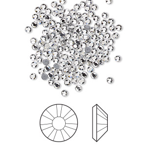 flat back, swarovski crystal hotfix rhinestone, crystal clear, foil back, 1.9-2.1mm xilion rose (2038), ss6. sold per pkg of 1,440 (10 gross).