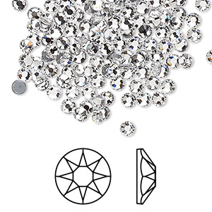 flat back, swarovski crystal hotfix rhinestone, crystal passions, crystal clear, foil back, 3-3.2mm xirius rose (2078), ss12. sold per pkg of 144 (1 gross).