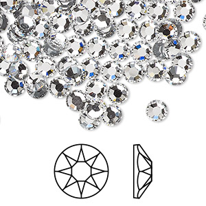 flat back, swarovski crystal hotfix rhinestone, crystal passions, crystal clear, foil back, 4.6-4.8mm xirius rose (2078), ss20. sold per pkg of 144 (1 gross).