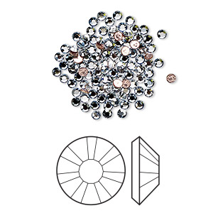 flat back, swarovski crystal hotfix rhinestone, crystal passions, crystal blue shade, foil back, 1.9-2.1mm xilion rose (2038), ss6. sold per pkg of 144 (1 gross).