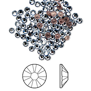 flat back, swarovski crystal hotfix rhinestone, crystal passions, crystal blue shade, foil back, 2.7-2.9mm xilion rose (2038), ss10. sold per pkg of 12.
